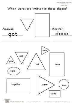 Word Shapes (3rd Grade)