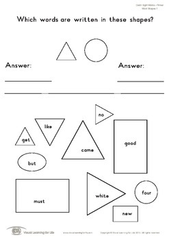 Word Shapes (Kindergarten)