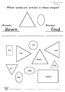 Word Shapes (Pre-K)