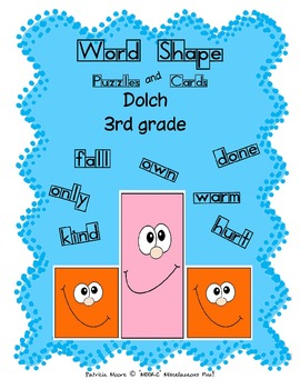 Word Shapes - Puzzles and Cards!  Dolch 3rd Grade