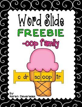 Word Slide FREEBIE:  -oop family (Word Families Activity -