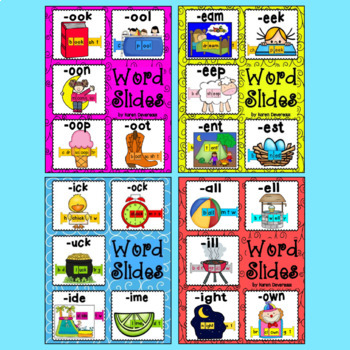 Word Slides BUNDLE of 50  (Word Families Activity)