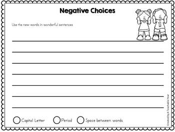 Word Slides- Positive and Negative Choices