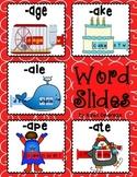Word Slides Set 5: age, ake, ale, ape, ate  (Word Families Activity)