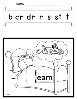 Word Slides Set 9: eam, eek, eep, ent, est  (Word Families Activity)