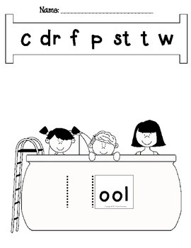 Word Slides Set 10: ook, ool, oon, oop, oot  (Word Families Activity)