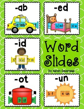 Word Slides Set 3: ab, ed, id, ot, un (Word Families Activity)