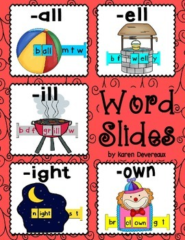 Word Slides Set 4: all, ell, ill, ight, own  (Word Families Activity)