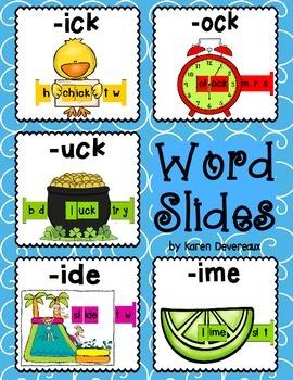 Word Slides Set 6: ick, ock, uck, ide, ime  (Word Families Activity)
