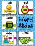 Word Slides Set 6: ick, ock, uck, ide, ime  (Word Families Activity)