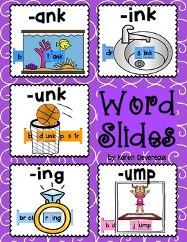 Word Slides Set 7: ank, ink, unk, ing, ump  (Word Families Activity)