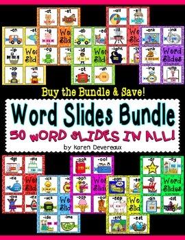 Word Slides Set 8: ar, ay, ail, ain, ast  (Word Families Activity)