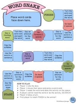 Word Snake Game for ANY spelling, vocabulary or word work list