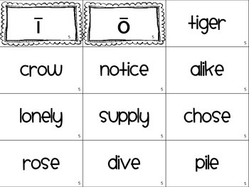 Word Sort 5- Long i and o