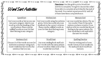 Word Sort Activities