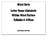 Word Sort Bundle: Letter Name Alphabetic, Within Word, Syl