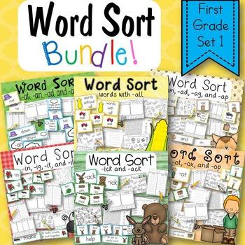 Word Sort Bundle Set 1  1st Grade
