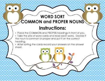 Word Sort - Common and Proper Nouns