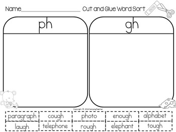 Word Sort Consonant Digraphs gh and ph Horace and Morris Reading Street