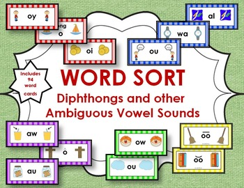 Word Sort - Diphthongs and other Ambiguous Vowel Sounds
