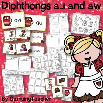 Word Sort Diphthongs au and aw with No Prep Printables and Game