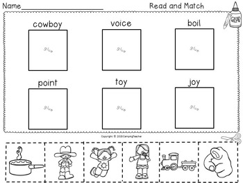 Word Sort Diphthongs oi and oy with No Prep Printables and Game