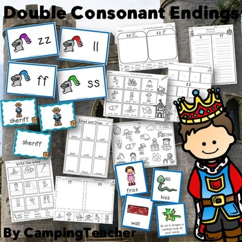Word Sort Double Consonants ss, ll, zz, ff with No Prep Printables and Game