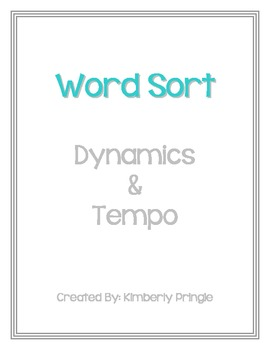 Word Sort - Dynamics & Tempo