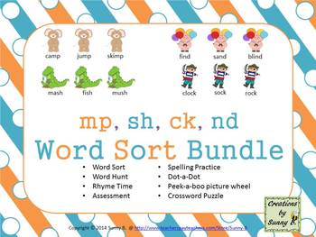 Word Sort Ending sh,ck,mp,nd Bundle