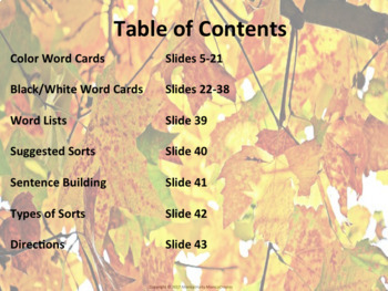 Word Sort Activity - Fall Theme