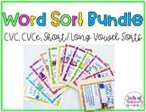 Word Sort File Folders CVC CVCE Short/ Long Vowel Activities
