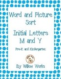 Word Sort Initial Letter M and Y