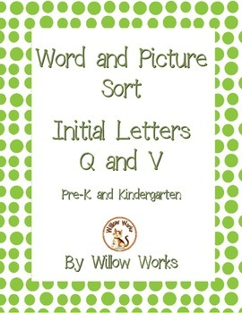 Word Sort Initial Letter Q and V