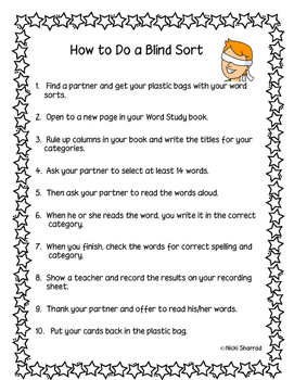Word Sort Instructions