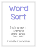Word Sort - Instrument Families (Strings, Brass, & Percussion)