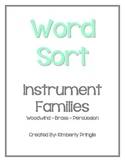 Word Sort - Instrument Families (Woodwind, Brass, Percussion)