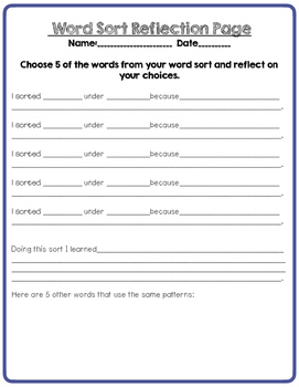 Word Sort Long I short I - Intermediate