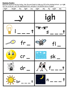 Word Sort- Long I spelled y and igh