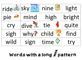 Word Sort: Long Vowels (For Students in Within Word Pattern Stage)