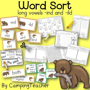 Word Sort Long Vowels ind and ild Story Fishing Bears