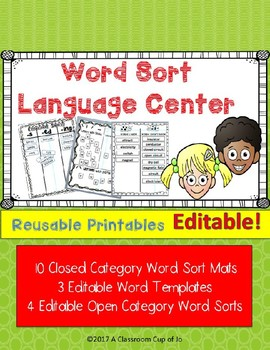 Word Sort Maps for Spelling, Vocabulary & Comprehension  (Editable!)