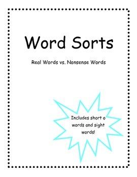 Word Sort: Nonsense vs. Real Words-Short o