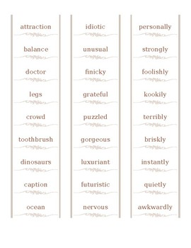Word Sort: Nouns, Verbs, Adjectives, Adverbs (High School) -- Part 1