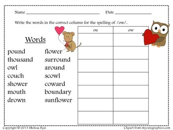 Word Sort Owl or Mouse
