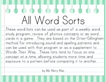Word Sort Pack | Orton-Gillingham Spelling Lists