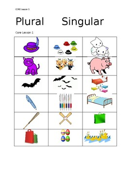 Word Sort:  Plural/Singular