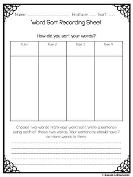 Word Sort Recording Sheet FREE