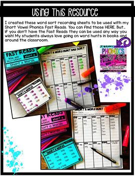 Word Sort Recording Sheets {To be used with Phonics Fast Reads: Short Vowels}