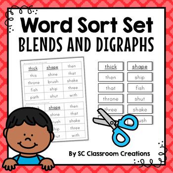 Blends and Digraphs Word Sort Set
