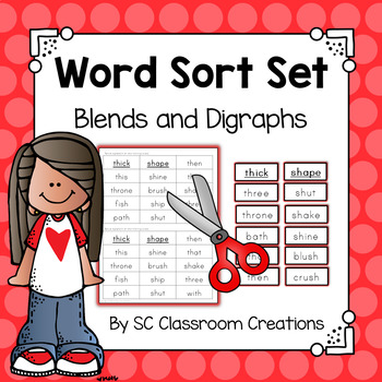 Blends and Digraphs Word Sort Set